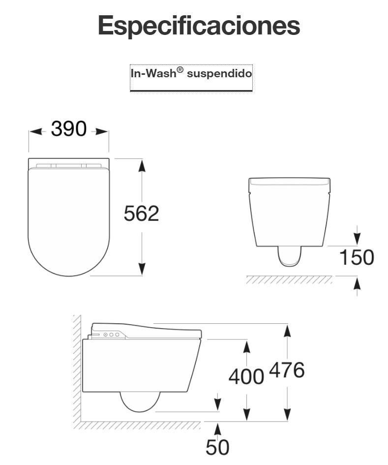 Medidas roca in-wash suspendido