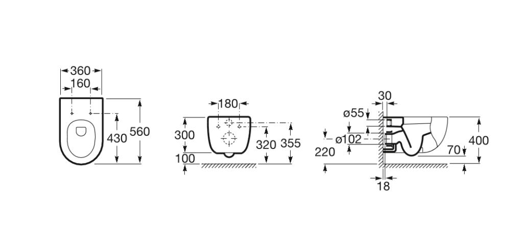Medidas váter roca meridian suspendido
